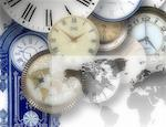 Clocks and World Map    Stock Photo - Premium Rights-Managed, Artist: Bill Frymire, Code: 700-00028119