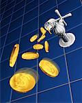 Coins Pouring from Water Faucet    Stock Photo - Premium Rights-Managed, Artist: Guy Grenier, Code: 700-00028254