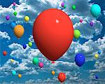 Balloons in Sky    Stock Photo - Premium Rights-Managed, Artist: Guy Grenier, Code: 700-00028580