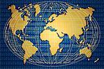 World Map with Binary Code and Wire Sphere    Stock Photo - Premium Rights-Managed, Artist: Wei Yan, Code: 700-00029117