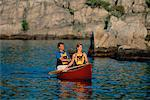 Couple Canoeing Temagami, Ontario, Canada    Stock Photo - Premium Rights-Managed, Artist: Greg Stott, Code: 700-00031155