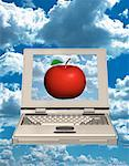 Laptop Computer with Apple on Screen in Sky    Stock Photo - Premium Rights-Managed, Artist: Guy Grenier, Code: 700-00032057