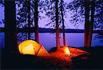 Campsite at Dusk Upper Spectacle Lake, Algonquin Provincial Park, Ontario, Canada
