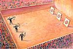 Illustration of Spectators Watching Archery