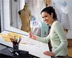 Portrait of Woman Sketching at Drafting Table    Stock Photo - Premium Rights-Managed, Artist: Masterfile, Code: 700-00034415