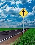 Road Sign, Road and Sky    Stock Photo - Premium Rights-Managed, Artist: Guy Grenier, Code: 700-00034623