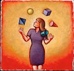 Illustration of Businesswoman Juggling Geometric Shapes    Stock Photo - Premium Rights-Managed, Artist: James Wardell, Code: 700-00035052