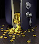 Open Safe with Gold Ingots and Coins Spilling Out    Stock Photo - Premium Rights-Managed, Artist: Rick Fischer, Code: 700-00035479
