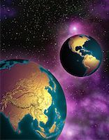 Two Globes in Space North and South America and Pacific Rim    Stock Photo - Premium Rights-Managednull, Code: 700-00035637