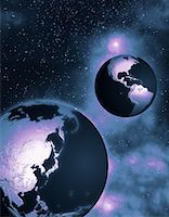 Two Globes in Space North and South America and Pacific Rim    Stock Photo - Premium Rights-Managednull, Code: 700-00035640