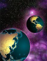 Two Globes in Space North and South America and Pacific Rim    Stock Photo - Premium Rights-Managednull, Code: 700-00035688