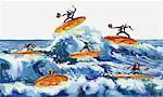 Illustration of Businessmen Surfing on Coins    Stock Photo - Premium Rights-Managed, Artist: Wei Yan, Code: 700-00035852