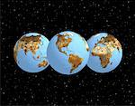 Three Globes Displaying Continents of the World in Space