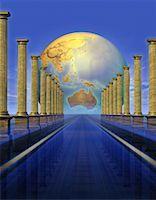 Globe Behind Columns Pacific Rim    Stock Photo - Premium Rights-Managednull, Code: 700-00036132