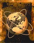 Wire Globe and Rings Atlantic Ocean