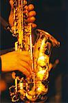 Close-Up of Hands on Saxophone    Stock Photo - Premium Rights-Managed, Artist: Joel Benard, Code: 700-00036409