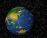 Globe in Space Pacific Rim    Stock Photo - Premium Rights-Managed, Artist: Rick Fischer, Code: 700-00036475
