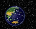 Globe in Space Pacific Rim    Stock Photo - Premium Rights-Managed, Artist: Rick Fischer, Code: 700-00036476
