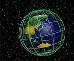 Globe and Grid Pacific Rim    Stock Photo - Premium Rights-Managed, Artist: Rick Fischer, Code: 700-00036482