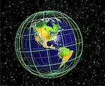 Globe and Grid North and South America    Stock Photo - Premium Rights-Managed, Artist: Rick Fischer, Code: 700-00036514