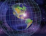 Globe and Grid in Space North and South America    Stock Photo - Premium Rights-Managed, Artist: Rick Fischer, Code: 700-00036822