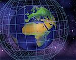 Globe and Grid in Space Europe and Africa    Stock Photo - Premium Rights-Managed, Artist: Rick Fischer, Code: 700-00036823