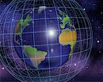 Globe and Grid North and South America, Europe And Africa    Stock Photo - Premium Rights-Managed, Artist: Rick Fischer, Code: 700-00036825