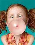 Portrait of Girl Blowing Bubble