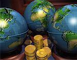 Globe Banks with Gold Coins    Stock Photo - Premium Rights-Managed, Artist: Rick Fischer, Code: 700-00039217
