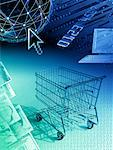 Shopping Cart with Computer and International Currency    Stock Photo - Premium Rights-Managed, Artist: Bill Frymire, Code: 700-00040570