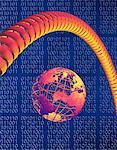 Globe, Telephone Cord and Binary Code    Stock Photo - Premium Rights-Managed, Artist: Guy Grenier, Code: 700-00040572