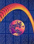 Globe, Telephone Cord and Binary Code