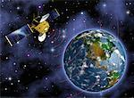 Satellite and Globe    Stock Photo - Premium Rights-Managed, Artist: Rick Fischer, Code: 700-00040623