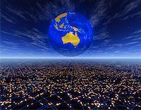 Globe over Horizon Pacific Rim    Stock Photo - Premium Rights-Managednull, Code: 700-00041195