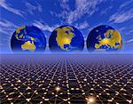 Three Globes Displaying Continents of the World on Abstract Grid    Stock Photo - Premium Rights-Managed, Artist: Imtek Imagineering, Code: 700-00042285