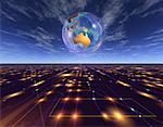 Globe over Abstract Grid Australia    Stock Photo - Premium Rights-Managed, Artist: Imtek Imagineering, Code: 700-00042291