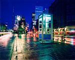 Phone Booth on Street with Light Trails at Night Toronto, Ontario, Canada    Stock Photo - Premium Rights-Managed, Artist: Philip Rostron, Code: 700-00042670