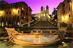 Spanish Steps and Barcaccia Fountain at Dusk Rome, Italy    Stock Photo - Premium Rights-Managed, Artist: Daryl Benson, Code: 700-00043126