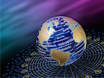 Binary Code on Globe with Time Zones    Stock Photo - Premium Rights-Managed, Artist: Bill Frymire, Code: 700-00043619