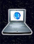Laptop Computer with Globe on Screen in Space    Stock Photo - Premium Rights-Managed, Artist: Jean-Yves Bruel, Code: 700-00043889