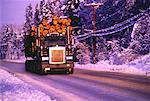 Logging Truck on Road in Winter British Columbia, Canada    Stock Photo - Premium Rights-Managed, Artist: Dale Sanders, Code: 700-00045395