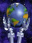 Robot Hands Holding Globe in Space Atlantic Ocean    Stock Photo - Premium Rights-Managed, Artist: Rick Fischer, Code: 700-00045637