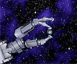Robot Hand with Globe Between Fingers in Space    Stock Photo - Premium Rights-Managed, Artist: Rick Fischer, Code: 700-00045727