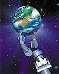 Robot Hand Holding Globe in Space    Stock Photo - Premium Rights-Managed, Artist: Rick Fischer, Code: 700-00045728