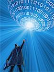 Illustration of Businessman Reaching for Sphere of Binary Code