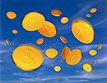 Gold Coins with International Currency Symbols Falling in Sky    Stock Photo - Premium Rights-Managed, Artist: Guy Grenier, Code: 700-00046139