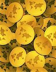World Maps on Gold Coins    Stock Photo - Premium Rights-Managed, Artist: Guy Grenier, Code: 700-00046365