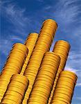 Stacks of Gold Coins and Sky    Stock Photo - Premium Rights-Managed, Artist: Guy Grenier, Code: 700-00046367