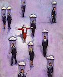 Illustration of Optimistic Woman Standing Out in Crowd    Stock Photo - Premium Rights-Managed, Artist: James Wardell, Code: 700-00046511