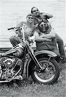 Portrait of Laughing Bikers with Motorcycle Marmora, Ontario, Canada    Stock Photo - Premium Rights-Managed, Artist: Peter Christopher, Code: 700-00047678